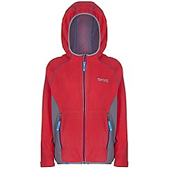 Regatta - Girls Pink / grey whinfell full zip hooded fleece