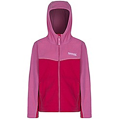Regatta - Girls Pink marty symmetric hooded fleece