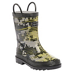 Regatta - Kids Grey minnow printed welly