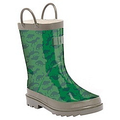 Regatta - Boys Dino green kids minnow printed welly