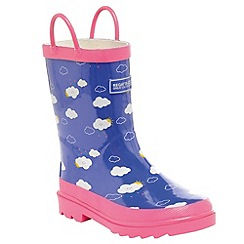 Regatta - Girls Pink cloud kids minnow printed welly