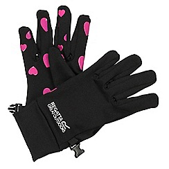 Regatta - Girls Black/ pink grippy gloves