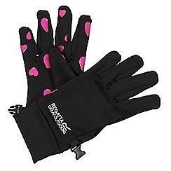 Regatta - Girls Black/ pink grippy gloves