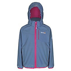 Regatta - Girls Slate blue turbodrop wind resistant softshell