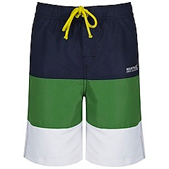 Regatta - Kids Navy/green skooba swim shorts
