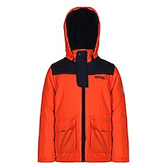 Regatta - Boys Orange zipper quilted water repellent jacket