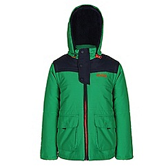 Regatta - Boys Green zipper quilted water repellent jacket