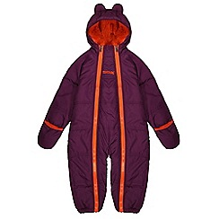 Regatta - Girls Blackcurrant pudgie quilted water repellent onesie