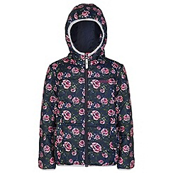 Regatta - Girls Navy floral Coulby quilted jacket