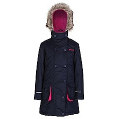 Regatta - Girls Navy trapeze waterproof parka