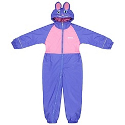 Regatta - Girls Pink bunny kids mudplay waterproof onsie