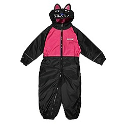 Regatta - Girls Black cat kids mudplay waterproof onsie