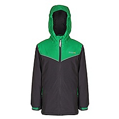 Regatta - Boys Iron/ green obie waterproof jacket