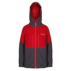 Regatta - Boys Grey/ red mercia waterproof jacket