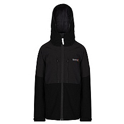 Regatta - Boys Black/ grey mercia waterproof jacket