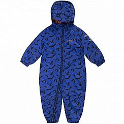 Regatta - Kids Blue 'Splat' printed waterproof suit