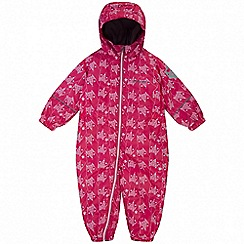 Regatta - Kids Pink 'Splat' printed waterproof suit