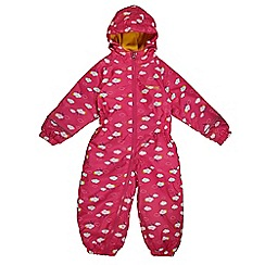 Regatta - Girls Pink cloud kids printed splat waterproof onisie