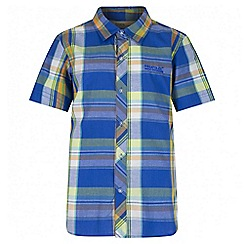 Regatta - Boys' blue crayford short sleeved shirt