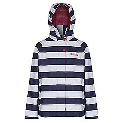 Regatta - Girls Navy stripe esmerelda waterproof jacket