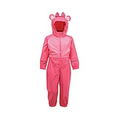 Regatta - Pink/pale pink toddler animal all in one waterproof