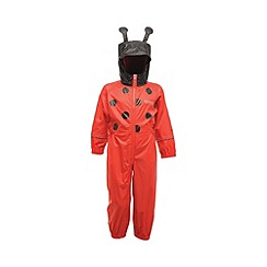 Regatta - Red/ black toddler animal all in one waterproof
