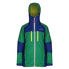 Regatta - Boys Green/blue all peaks waterproof jacket