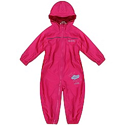 Regatta - Girls Pink kids puddle waterproof onesie