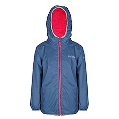 Regatta - Girls Blue/ pink lagoona waterproof jacket
