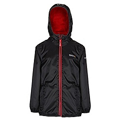 Regatta - Boys Black/ red lagoona waterproof jacket