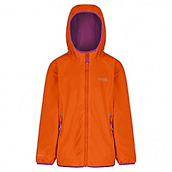 Regatta - Girls' orange lever waterproof jacket