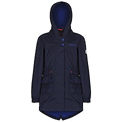 Regatta - Girls Navy treasure fishtail waterproof jacket