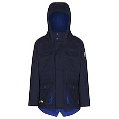 Regatta - Boys Navy scarper fishtail waterproof jacket