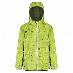 Regatta - Boys' lime green printed lever waterproof jacket