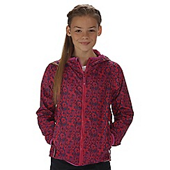 Regatta - Girls' pink printed lever waterproof jacket