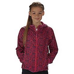 Regatta - Girls' pink printed lever waterproof jacket
