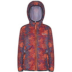 Regatta - Kids Orange printed lever waterproof jacket