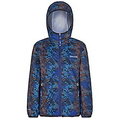 Regatta - Kids Blue printed lever waterproof jacket