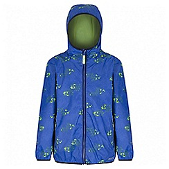 Regatta - Boys' blue printed lever waterproof jacket