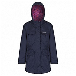 Regatta - Girls' navy treasure waterproof parka