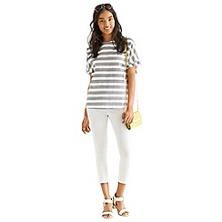 Oasis - Textured stripe roll sleeve t-shirt