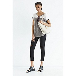Oasis - Colour block rib trim tee