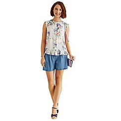 Oasis - Tropical palm pleat hem top