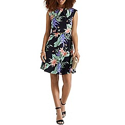 Oasis - Tropical palm twist neck shift dress