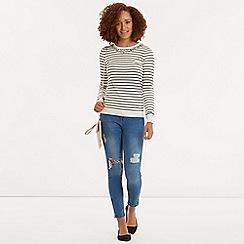 Oasis - Flower Embellished Stripe Top