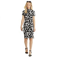 Oasis - Textured silhouette print dres