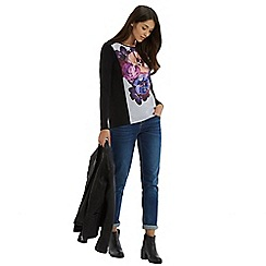 Oasis - Photographic floral placement crepe sweat