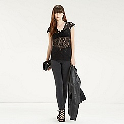 Oasis - Sheer Lace V Neck Top