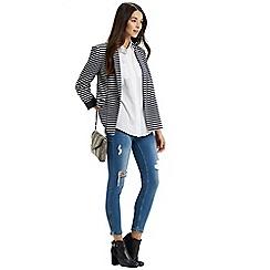 Oasis - Woven Stripe Ponte Jacket