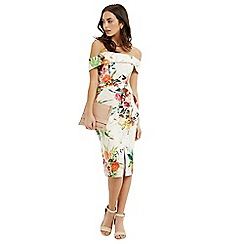 Oasis - Floral bardot pencil dress